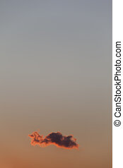 Lonely Cloud - Single cloud on colourfull dusk sky. Copy...