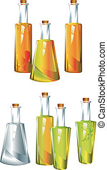 Oil. Vinegar. Sauce. - Bottles different forms with...