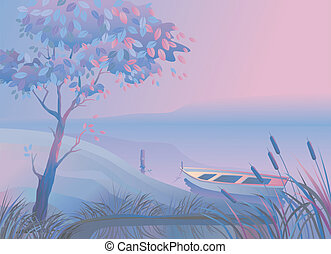 Landscape with tree boat bulrushes - Morning or evening...