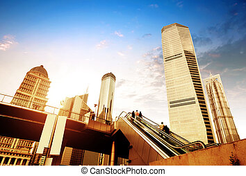 Escalator of Shanghai streets, skyscraper buildings