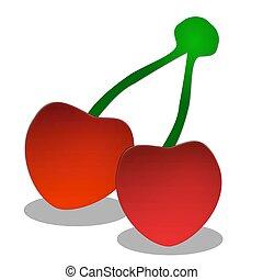 illustration of cherries on white