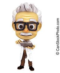 professor with tablet - 3d render professor series