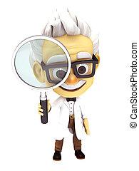 professor with glass - 3d render professor series