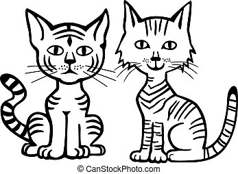 Two Kitties - vector illustration of two funny striped tabby...
