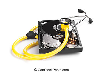 Hard Disk and Sthetoscope - An hard disk with a sthetoscope...