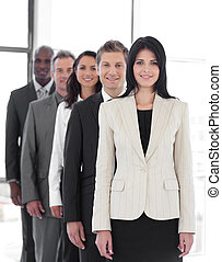 Female business leader with Business team