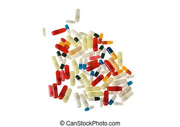 Pills over white