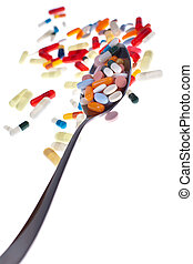 Spoon-o-meds - A lot of colored pills and tabs with a spoon...