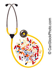 Pills and stethoscope - many pills and capsules over white...