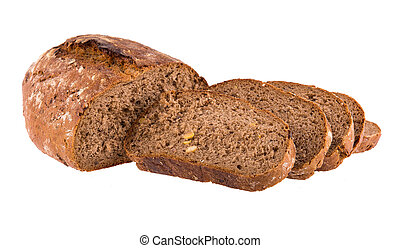 Traditional rye bread isolated on white background.