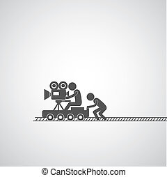 movie production symbol  on gray background
