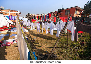 Laundry hanging in the open to dry in Kathmandu