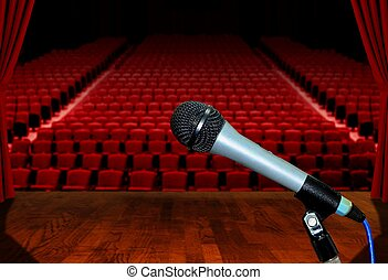 Microphone on Stage Facing Empty Auditorium Seats