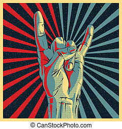 Hand in rock n roll sign, vector Eps10 illustration.