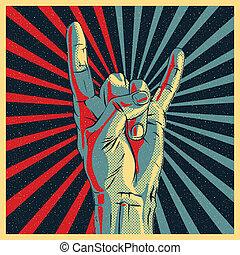 mano, roca, N, rollo, señal