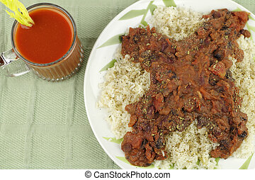 Beverage with Beans, Rice and Tomato