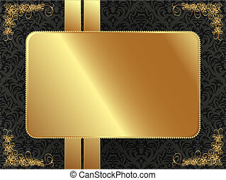 Gold frame with pattern - Gold frame with a dark pattern and...