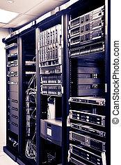 Network Server Racks - Four Racks Network servers in a data...