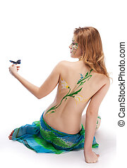 Spring bodyart - Young girl in the Spring image