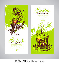 Set of vintage Easter banners with hand drawn sketch...