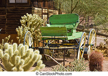 Wild West Wagon made of green wood with cactus