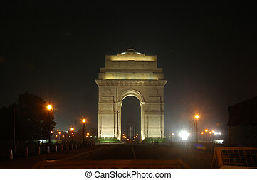 India Gate-Night-New Delhi India - India Gate- a national...