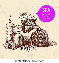 Spa background. Vintage hand drawn sketch illustration