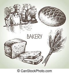 Bakery sketch icon set Vintage hand drawn illustrations