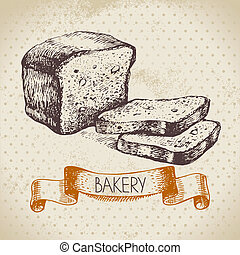 Bakery sketch background Vintage hand drawn illustration