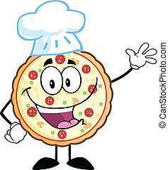 Pizza Chef Character Waving - Funny Pizza Chef Cartoon...