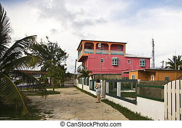 Pink house - A brightly colored building in San Pedro on...