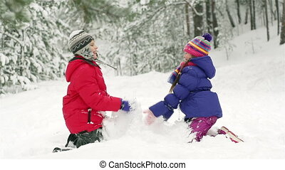 Snow Fuss - Slow-motion of joyful kids playing in snow...
