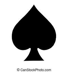 玩, 卡片, 符號, 鐵鍬剷剷形物