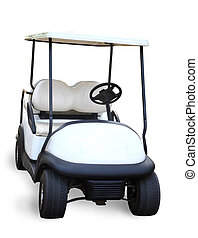 Golf cart isolated on white background, clipping path