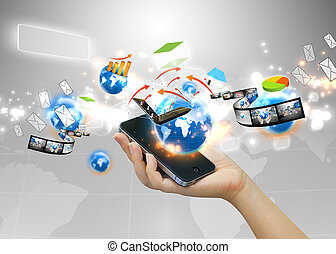 hand holding social media concept.