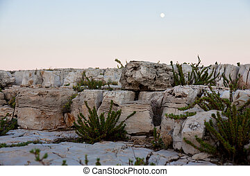 Rocky landscape at dusk with moon in background