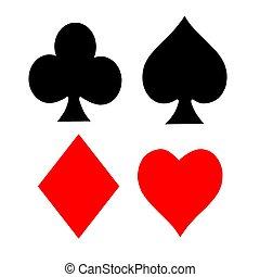 juego, tarjeta, símbolos