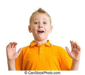 Surprised boy with funny expression isolated