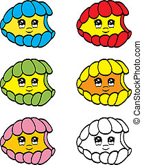 Cute clam - An illustration of cute cartoon colorful clam.