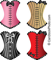 Corset set - Sexy Corset set with ribbons and bows