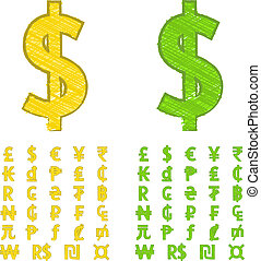 Doodle currency symbols - Set of doodle currency symbols of...