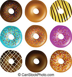 Donut set eps10 - Colorful Donut set with different frosting...