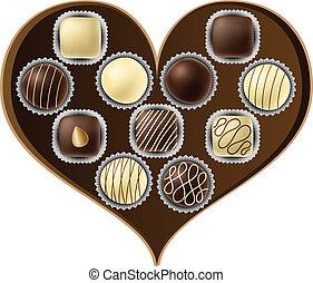 Heart shaped chocolate box eps10 - Heart shaped chocolate...