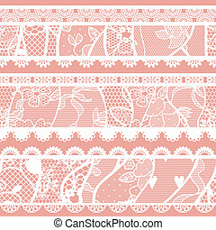 Set of lacy vintage trims Vector illustration