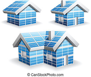 Solar panels - Vector illustration of abstract Eco houses...