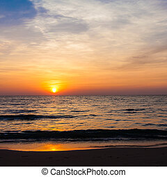 Sunset on the beach sunrise in the sea - Sunset on the beach...