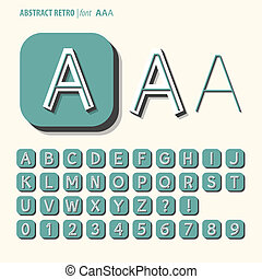 Abstract Retro Alphabet and Digit Vector