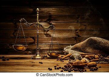 café, tema, bronze, escalas, ainda-vida, madeira, tabela