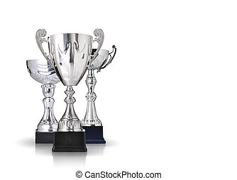 silver trophies - three different kind of silver trophies....