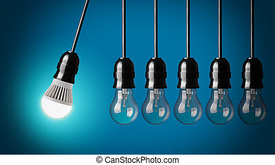 Idea concept on blue - Perpetual motion with LED bulb and...